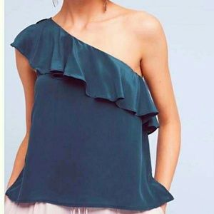 Green one shoulder ruffled